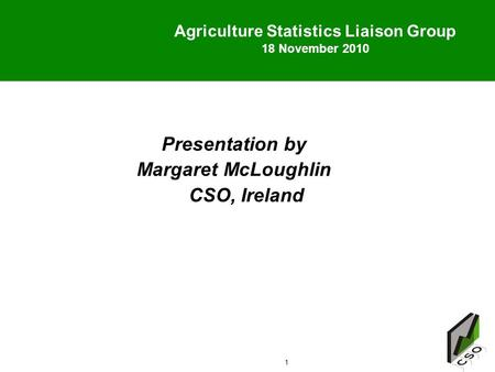 1 Agriculture Statistics Liaison Group 18 November 2010 18 November 2010 Presentation by Margaret McLoughlin CSO, Ireland.