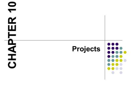 Projects CHAPTER 10. Learning Objectives 1. Explain what project management is and why it is important. 2. Identify the different ways projects can be.