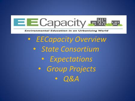 EECapacity Overview State Consortium Expectations Group Projects Q&A