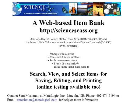 A Web-based Item Bank  Search, View, and Select Items for Saving, Editing, and Printing (online testing available too) - Multiple.