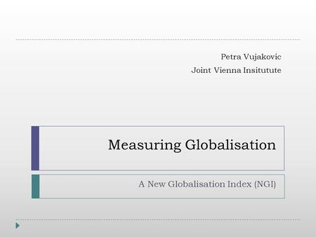 Measuring Globalisation