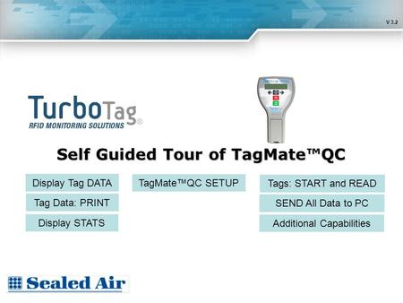 Self Guided Tour of TagMate™QC Display Tag DATA Tag Data: PRINT TagMate™QC SETUP Display STATS Tags: START and READ SEND All Data to PC Additional Capabilities.