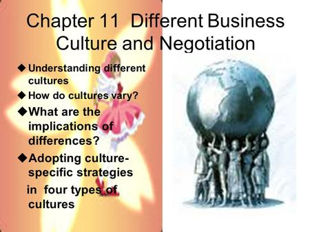 Chapter 11 Different Business Culture and Negotiation  Understanding different cultures  How do cultures vary?  What are the implications of differences?
