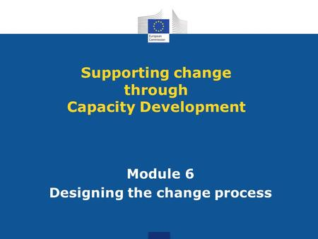 Module 6 Designing the change process Supporting change through Capacity Development.