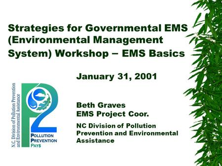 Strategies for Governmental EMS (Environmental Management System) Workshop – EMS Basics January 31, 2001 Beth Graves EMS Project Coor. NC Division of Pollution.