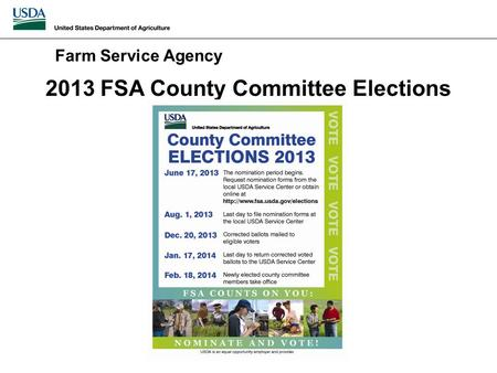 2013 FSA County Committee Elections Farm Service Agency.