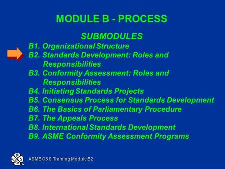 ASME C&S Training Module B2 MODULE B - PROCESS SUBMODULES B1. Organizational Structure B2. Standards Development: Roles and Responsibilities B3. Conformity.