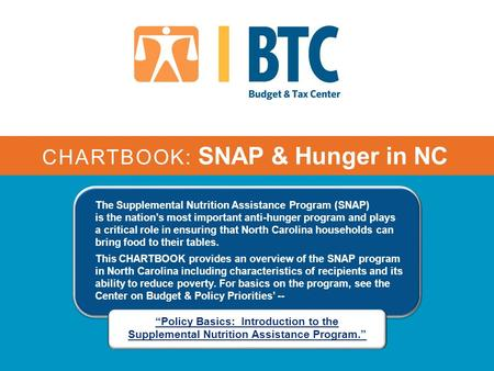 CHARTBOOK: SNAP & Hunger in NC The Supplemental Nutrition Assistance Program (SNAP) is the nation's most important anti-hunger program and plays a critical.