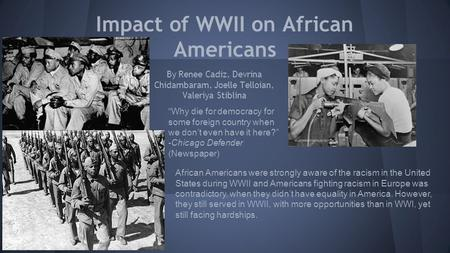 Impact of WWII on African Americans