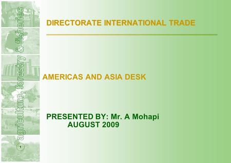 1 DIRECTORATE INTERNATIONAL TRADE AMERICAS AND ASIA DESK PRESENTED BY: Mr. A Mohapi AUGUST 2009.