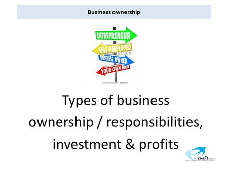 Business ownership Types of business ownership / responsibilities, investment & profits.