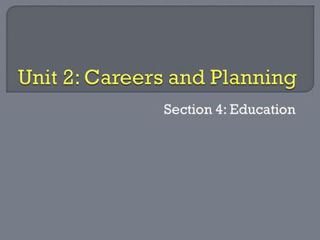 Section 4: Education.  Distinguish human capital vs human resources  Explain how education plays a role in planning for ALL careers.