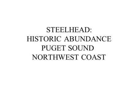 STEELHEAD: HISTORIC ABUNDANCE PUGET SOUND NORTHWEST COAST.