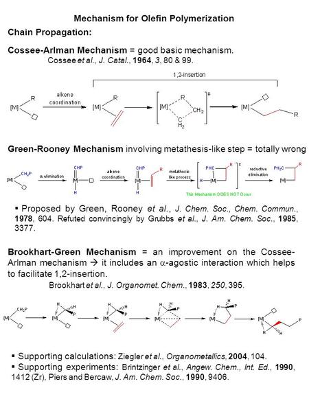 Mechanism for Olefin Polymerization Chain Propagation: Cossee-Arlman Mechanism = good basic mechanism. Cossee et al., J. Catal., 1964, 3, 80 & 99. Green-Rooney.