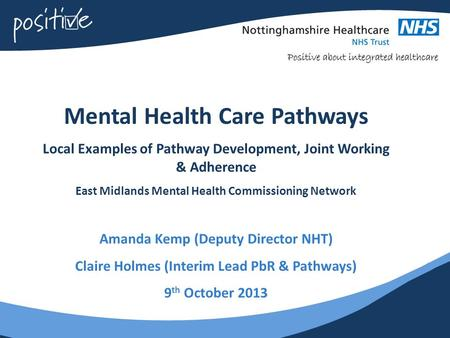 Mental Health Care Pathways