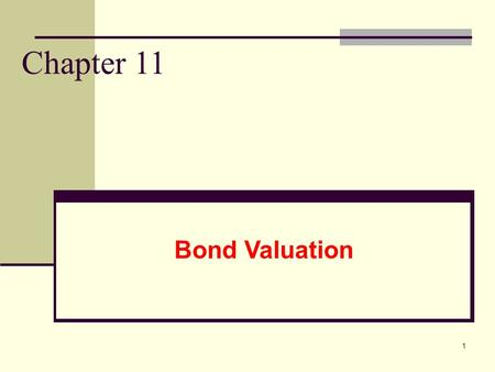 1 Chapter 11 Bond Valuation. 2 Bond Valuation and Analysis Goals 1. Explain the behavior of market interest rates, and identify the forces that cause.