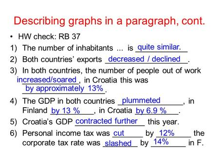 Describing graphs in a paragraph, cont. HW check: RB 37 1)The number of inhabitants... is ____________ 2)Both countries' exports ___________________. 3)In.