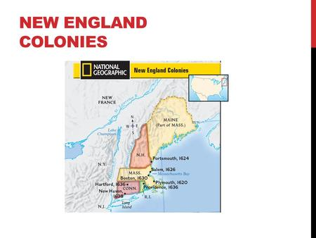 NEW ENGLAND COLONIES. NEW HAMPSHIRE Date: 1620, 1638 Reason: Profit from fishing and trade, religious freedom Founder(s): John Mason, John Wheelright.