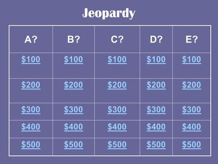 Jeopardy A?B?C?D?E? $100 $200 $300 $400 $500 ANSWER This is why the European explorers ended up in what is now New York.