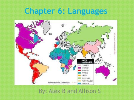 Chapter 6: Languages By: Alex B and Allison S. What are languages, and what role do languages play in cultures? Language: is a set of sounds, combinations.