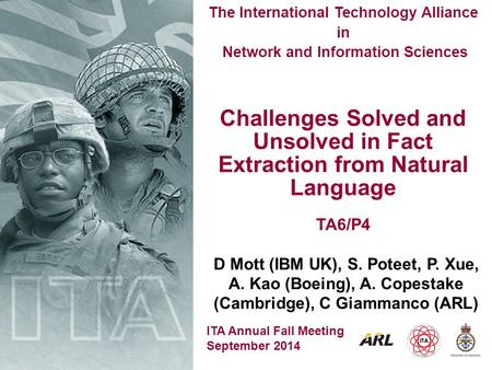 ITA Annual Fall Meeting September 2014 The International Technology Alliance in Network and Information Sciences Challenges Solved and Unsolved in Fact.