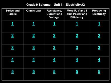 Grade 9 Science – Unit 4 – Electricity #2 Series and Parallel Ohm's LawResistance, Current and Voltage More R, V and I plus Power and Efficiency Producing.