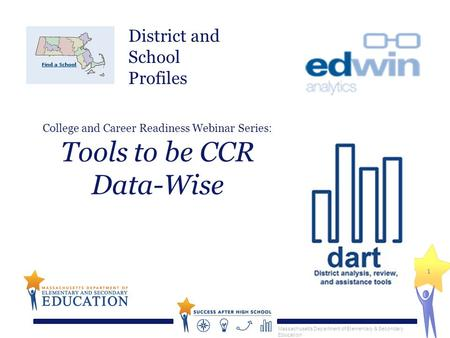 Massachusetts Department of Elementary & Secondary Education 1 College and Career Readiness Webinar Series: Tools to be CCR Data-Wise District and School.