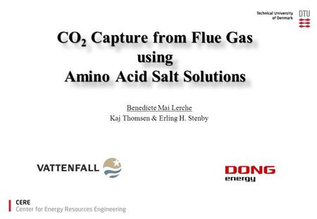 CO 2 Capture from Flue Gas using Amino Acid Salt Solutions Benedicte Mai Lerche Kaj Thomsen & Erling H. Stenby.