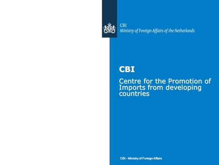 CBI - Ministry of Foreign Affairs CBI Centre for the Promotion of Imports from developing countries.