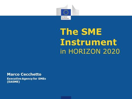 The SME Instrument in HORIZON 2020