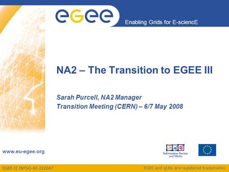 EGEE-II INFSO-RI-222667 Enabling Grids for E-sciencE www.eu-egee.org EGEE and gLite are registered trademarks NA2 – The Transition to EGEE III Sarah Purcell,