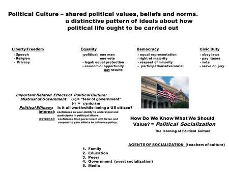 Political Culture – shared political values, beliefs and norms. a distinctive pattern of ideals about how political life ought to be carried out Liberty/FreedomEquality.