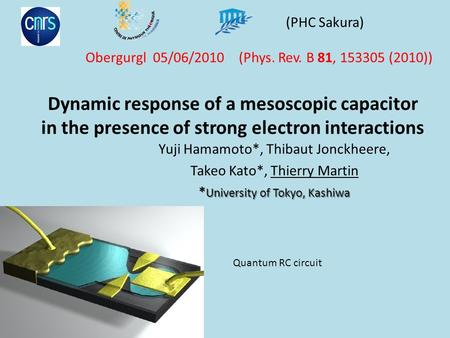 Dynamic response of a mesoscopic capacitor in the presence of strong electron interactions Yuji Hamamoto*, Thibaut Jonckheere, Takeo Kato*, Thierry Martin.