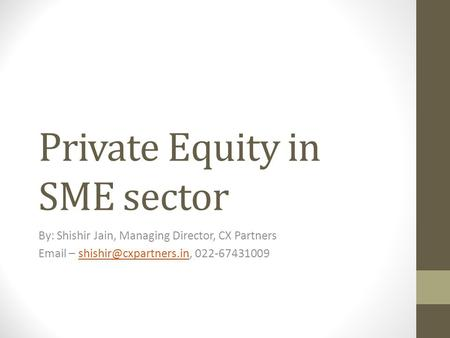 Private Equity in SME sector