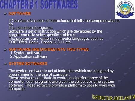 SOFTWARE It Consists of a series of instructions that tells the computer what to do. It is collection of programs. Software is set of instruction which.