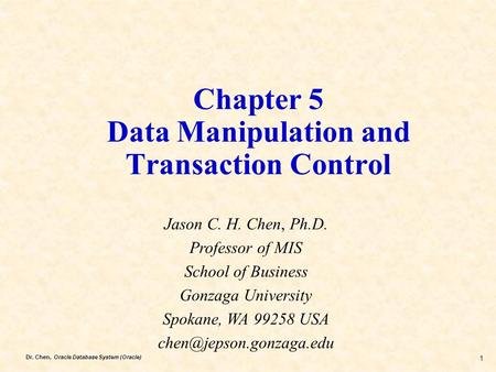 Chapter 5 Data Manipulation and Transaction Control