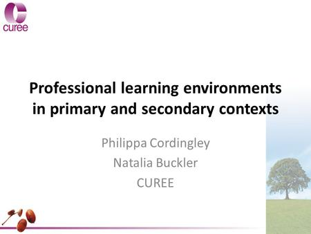 Professional learning environments in primary and secondary contexts Philippa Cordingley Natalia Buckler CUREE.