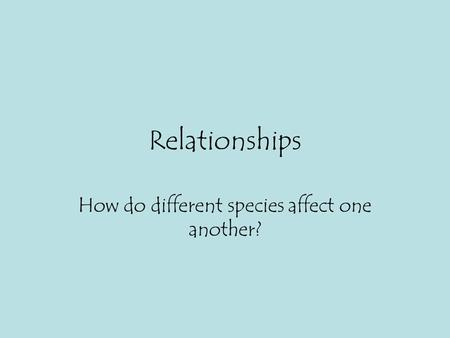 Relationships How do different species affect one another?