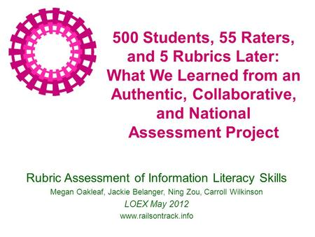 500 Students, 55 Raters, and 5 Rubrics Later: What We Learned from an Authentic, Collaborative, and National Assessment Project Rubric Assessment of Information.