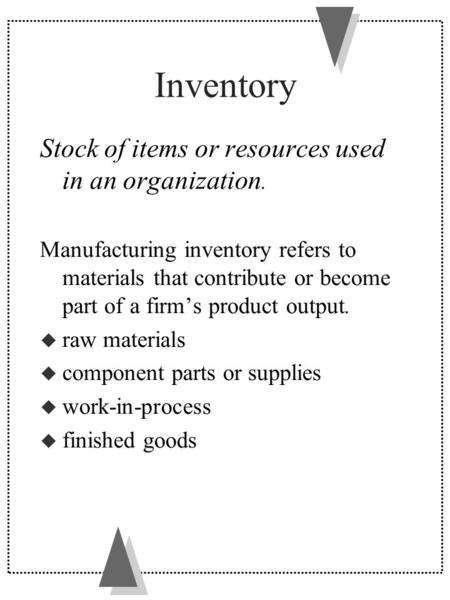 Inventory Stock of items or resources used in an organization. Manufacturing inventory refers to materials that contribute or become part of a firm's product.