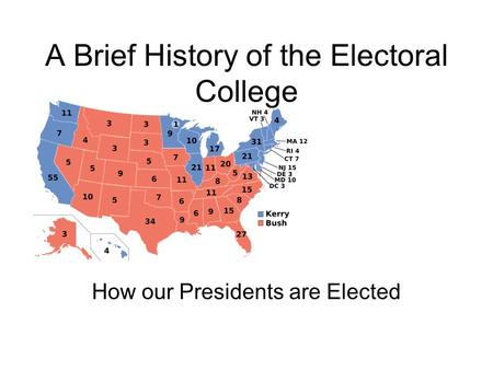 A Brief History of the Electoral College How our Presidents are Elected.