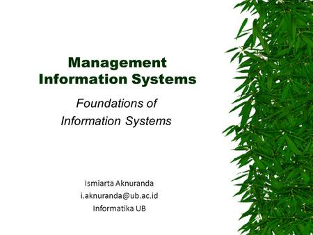 Management Information Systems Foundations of Information Systems Ismiarta Aknuranda Informatika UB.