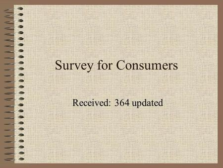 Survey for Consumers Received: 364 updated. Q1: To your knowledge, is Internet service available to you? A. Yes B. No C. Don't know.