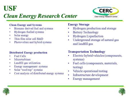 USF Clean Energy Research Center Clean Energy and Systems Biomass derived fuel and systems Hydrogen fuelled systems Solar energy Thin film solar cell R&D.