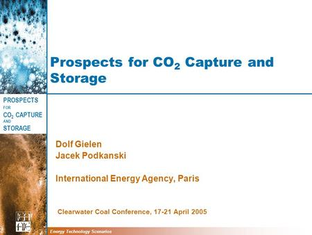 PROSPECTS FOR CO 2 CAPTURE AND STORAGE Energy Technology Scenarios Prospects for CO 2 Capture and Storage Dolf Gielen Jacek Podkanski International Energy.