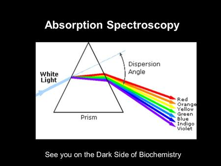 Absorption Spectroscopy See you on the Dark Side of Biochemistry.