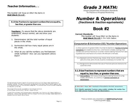 Number & Operations (fractions & fraction equivalents)