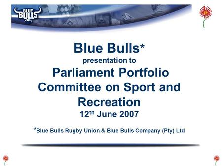 Blue Bulls * presentation to Parliament Portfolio Committee on Sport and Recreation 12 th June 2007 * Blue Bulls Rugby Union & Blue Bulls Company (Pty)