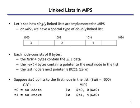 1 Linked Lists in MIPS  Let's see how singly linked lists are implemented in MIPS —on MP2, we have a special type of doubly linked list  Each node consists.