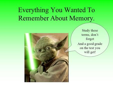 Everything You Wanted To Remember About Memory. Study these terms, don't forget And a good grade on the test you will get!